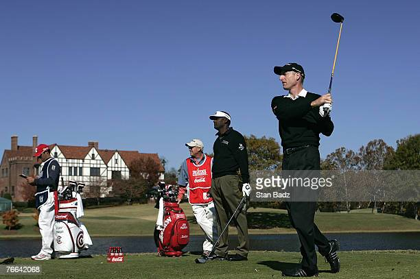 Jim Furyk tees hits off the 7th tee during the first round of the THE TOUR Championship at East Lake Golf Club in Atlanta, Georgia, on November 2,...
