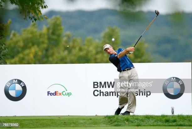 Jim Furyk tees off on during the second round of the BMW Championship the third event of the new PGA TOUR Playoffs for the FedExCup at Cog Hill Golf...