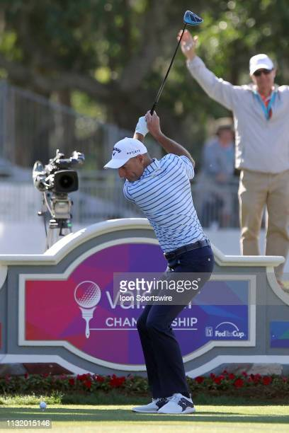 Jim Furyk tees off on the 18th hole during the second round of the Valspar Championship on March 22 at Westin Innisbrook-Copperhead Course in Palm...