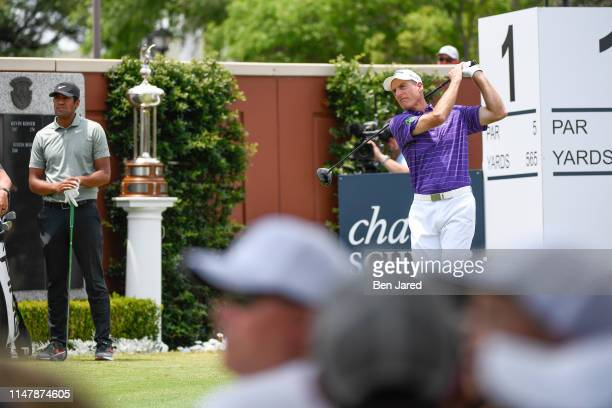 Jim Furyk tees off on the first tee box during the final round of the Charles Schwab Challenge at Colonial Country Club on May 26 2019 in Fort Worth...