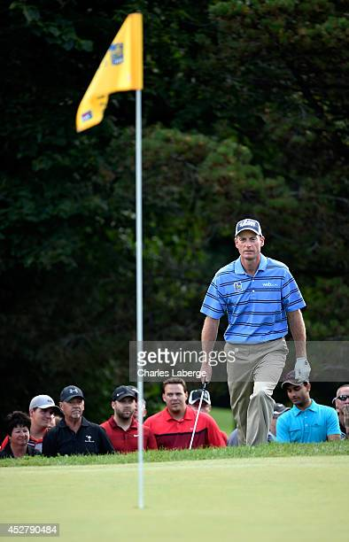 Jim Furyk walks up to the eighth green during the final round of the RBC Canadian Open at the Royal Montreal Golf Club on July 27 2014 in Montreal...