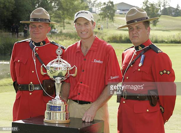 Jim Furyk was presented the winner's trophy after the fourth and final round of the Canadian Open held on the North Course at Angus Glen Golf Club in...