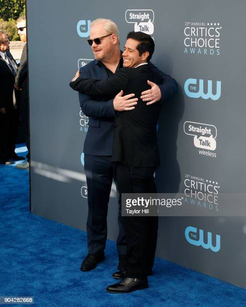 Jim Gaffigan and Jorge Diaz attend the 23rd Annual Critics' Choice Awards at Barker Hangar on January 11 2018 in Santa Monica California