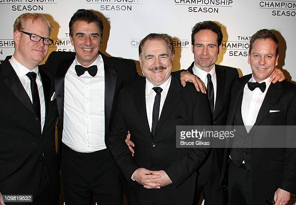 Jim Gaffigan Chris Noth Brian Cox Jason Patric and Kiefer Sutherland pose at The Opening Night After Party for That Championship Season on Broadway...