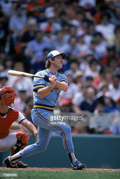 Jim Gantner of the Milwaukee Brewers follows through on his swing during a game in August of 1983 Gantner played for the Brewers from 19761992