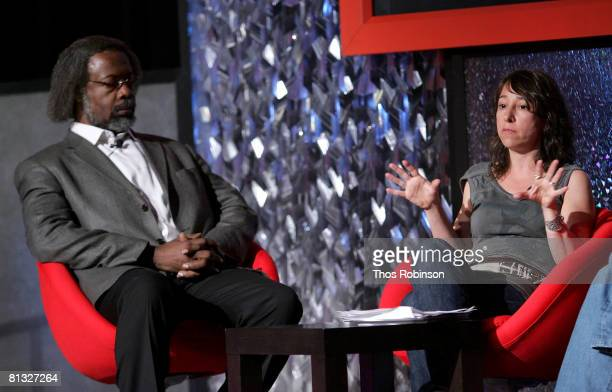 Jim Gates and Janna Levin attend the Beyond Einstein Panel at the Eisner Lubin Auditorium at New York University at the World Science Festival on...
