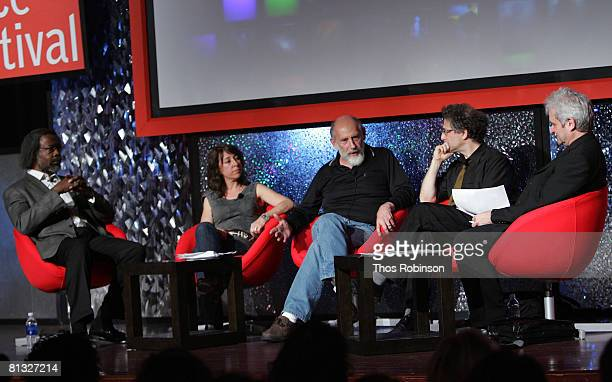 Jim Gates Janna Levin Leonardo Susskind Peter Galison and Paul Nurse attend the Beyond Einstein Panel at the Eisner Lubin Auditorium at New York...