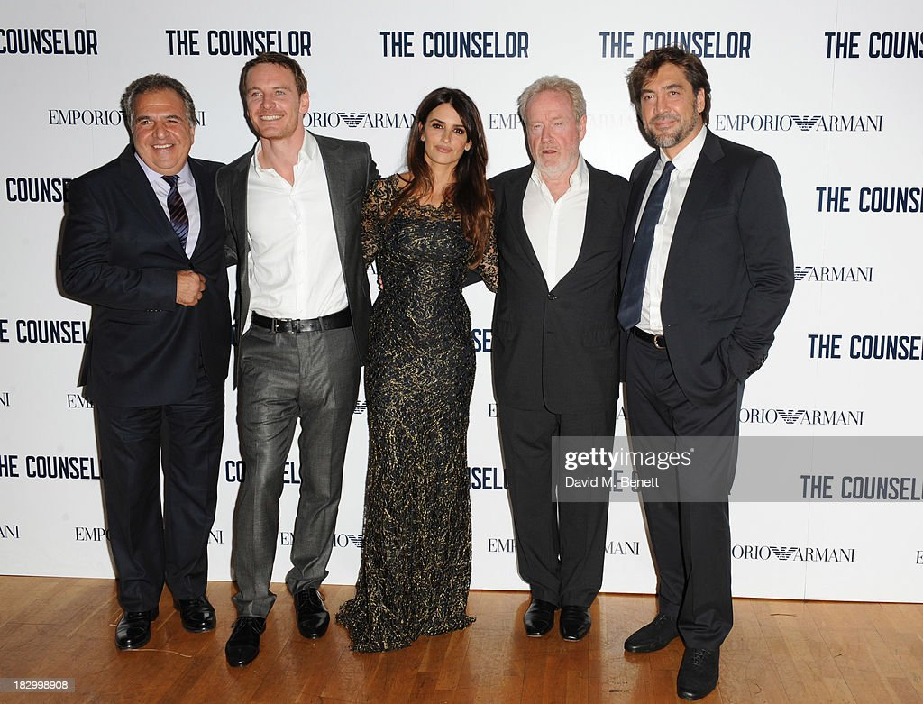Jim Gianopulos, Michael Fassbender, Penelope Cruz, Ridley Scott and Javier Bardem attends a special screening of 'The Counselor' at the Odeon West End on October 3, 2013 in London, England.
