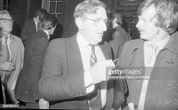 Jim Gibbons TD at Leinster House following the Fianna Fail Parliamentary meeting 6th October 1982 Photographer Tom Burke