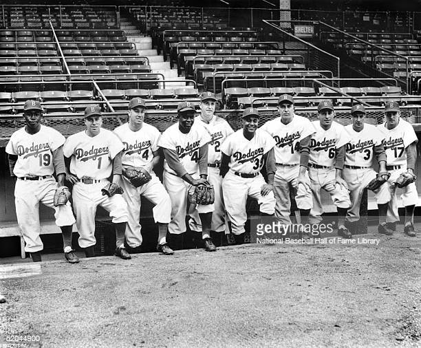 Jim Gilliam Pee Wee Reese Duke Snider Jackie Robinson manager Walter Alston Roy Campanella Gil Hodges Carl Furillo Billy Cox and Carl Erskine of the...