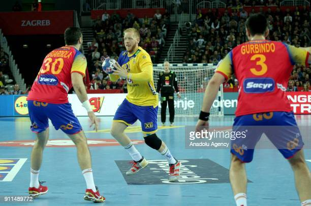 Jim Gottfridsson of Sweden in action during the 2018 EHF European Men's Handball Championship final match between Spain and Sweden at the Arena...