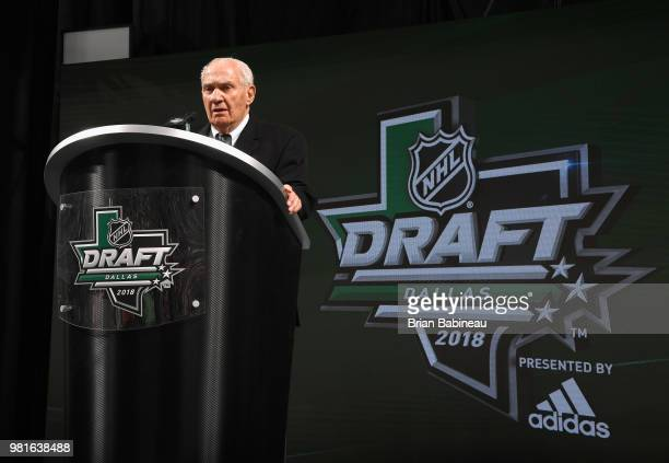 Jim Gregory of the NHL addresses the audience during the first round of the 2018 NHL Draft at American Airlines Center on June 22 2018 in Dallas Texas