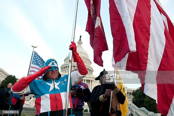 Jim Griffin, of Ft. Washington, MD, is dressed as the comic action character Captain America as he joins members of the Tea Part Patriots during a...