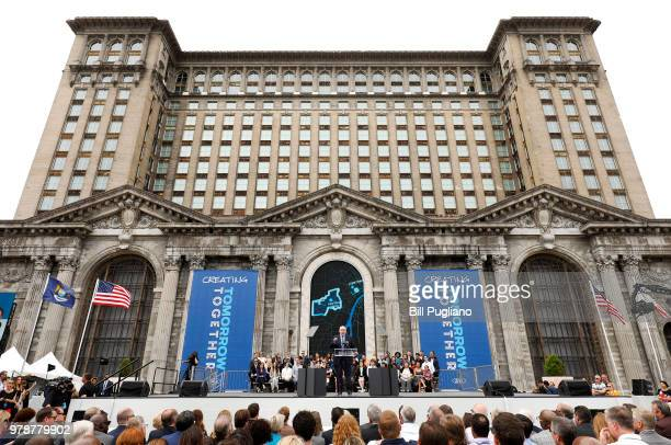 Jim Hackett Ford President and CEOspeaks at a Ford event to announce the company's plans to renovate the historic 105year old Michigan Central train...