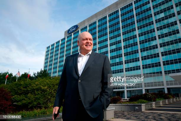 Jim Hackett president and chief executive officer Ford Motor stands outside the headquarters as they celebrate the production of the 10000 Mustang on...