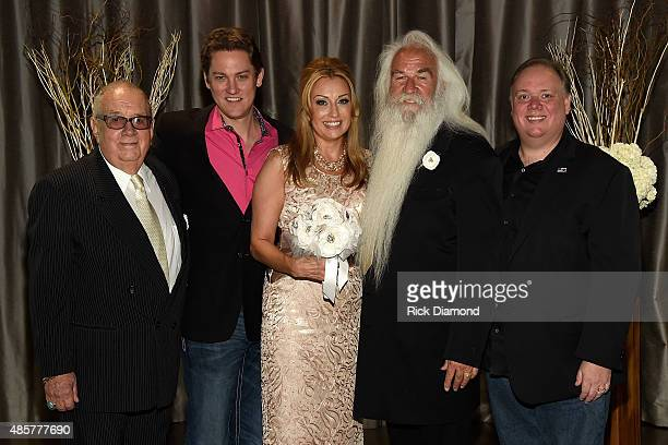 Jim Halsey Halsey Talent Agency Jeremy Westby Webster Media and Kirt Webster Webster Media attend the wedding of Wiliam Lee Golden and Simone De...