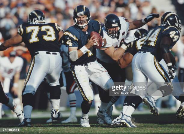 Jim Harbaugh, Quarterback for the San Diego Chargers prepares to throw a pass during the American Football Conference West game against the Chicago...