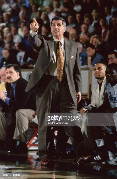 Jim Harrick, Head Coach for the Rhode Island Rams points on from the side line during the NCAA Sparkletts Invitational college basketball game...