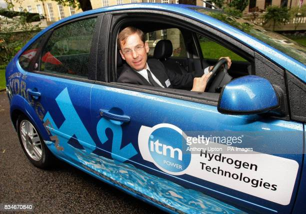 Jim Heathcote CEO of ITM Power inside the newly converted Ford Focus which runs on hydrogen outside the Society of Motor Manufacturer and Traders...