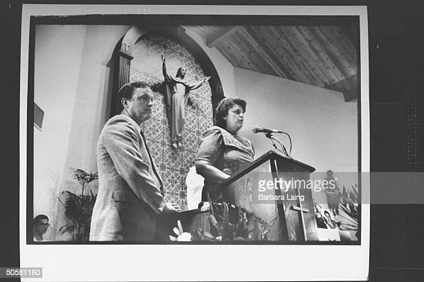 Jim Helen Kilroy the parents of drug voodoo mass murder victim Mark Kilroy at pulpit requesting prayers for their son's killers at memorial service...