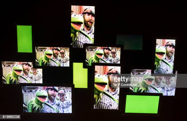 Jim Henson and Kermit the Frog are shown in a video at The Jim Henson Exhibition July 18 2017 at the Museum of the Moving Image in New York New York...