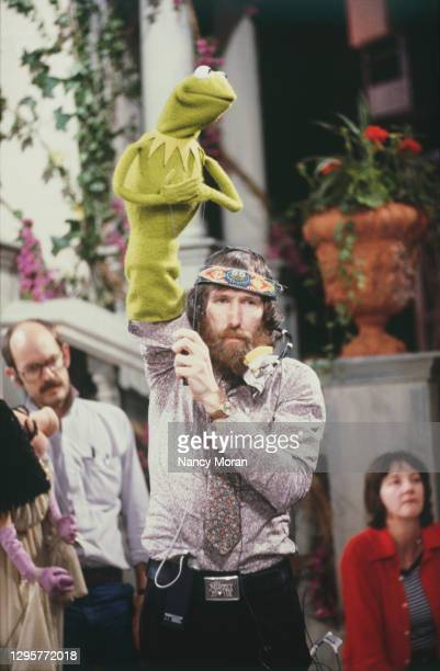 """Jim Henson, the creator and producer of the television program The Muppet Show, staring Kermit the Frog, on the set of """"Muppet Movie""""."""