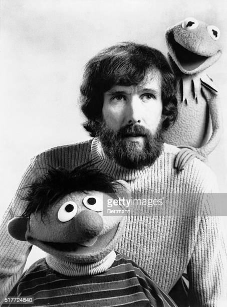 Jim Henson with two of his Muppets puppets Kermit The Frog and Ernie from Sesame Street