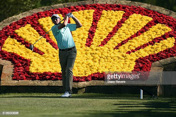 Jim Herman of the United States hits his tee shot on the 18th hole during the final round of the Shell Houston Open at the Golf Club of Houstonon...