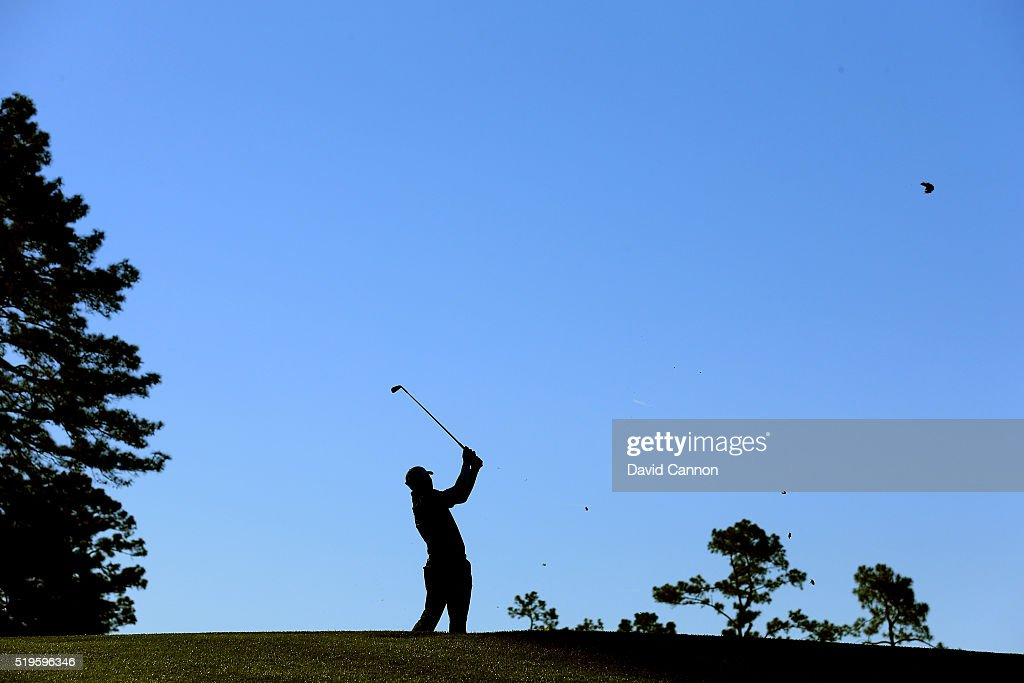 Jim Herman of the United States plays his shot from the fourth tee during the first round of the 2016 Masters Tournament at Augusta National Golf Club on April 7, 2016 in Augusta, Georgia.