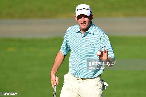 Jim Herman of the United States reacts to his during the final round of the Wyndham Championship at Sedgefield Country Club on August 16, 2020 in...