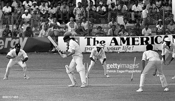 Jim Higgs of Australia is bowled for 2 runs to give West Indies victory by an innings and 106 runs in the 1st Test match between West Indies and...