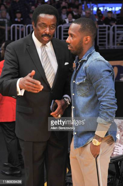 Jim Hill and Rich Paul attend a basketball game between the Los Angeles Lakers and the Toronto Raptors at Staples Center on November 10 2019 in Los...