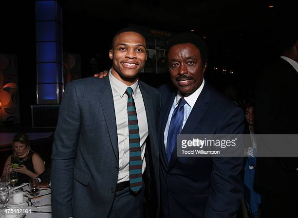 Jim Hill and Russell Westbrook attend the 2015 CedarsSinai Sports Spectacular at the Hyatt Regency Century Plaza on May 31 2015 in Century City...