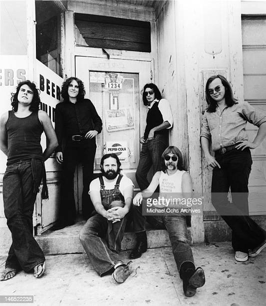 Jim Hodder David Palmer Denny Dias Donald Fagen Jeff 'Skunk' Baxter and Walter Becker of the rock band 'Steely Dan' pose for a portrait in 1972
