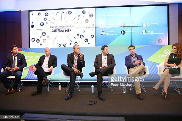 Jim Horton Rob Wilk Tim Castelli Josh Richmond Jed Hartman and Julia Boorstin appear onstage during CNBC Masters of Monetization panel at Thomson...