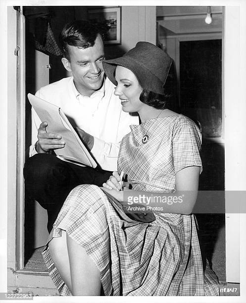 Jim Hutton shows Paula Prentiss what he wrote in a scene from the film 'Bachelor In Paradise' 1961