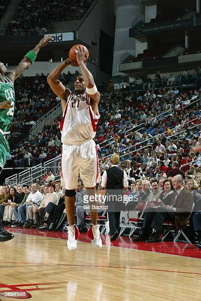 Jim Jackson of the Houston Rockets shoots a jumper during the game against the Boston Celtics on January 11 2004 at the Toyota Center in Houston...