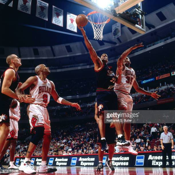 Jim Jackson of the Philadelphia 76ers dunks during a game played on November 1 1997 at the First Union Arena in Philadelphia Pennsylvania NOTE TO...
