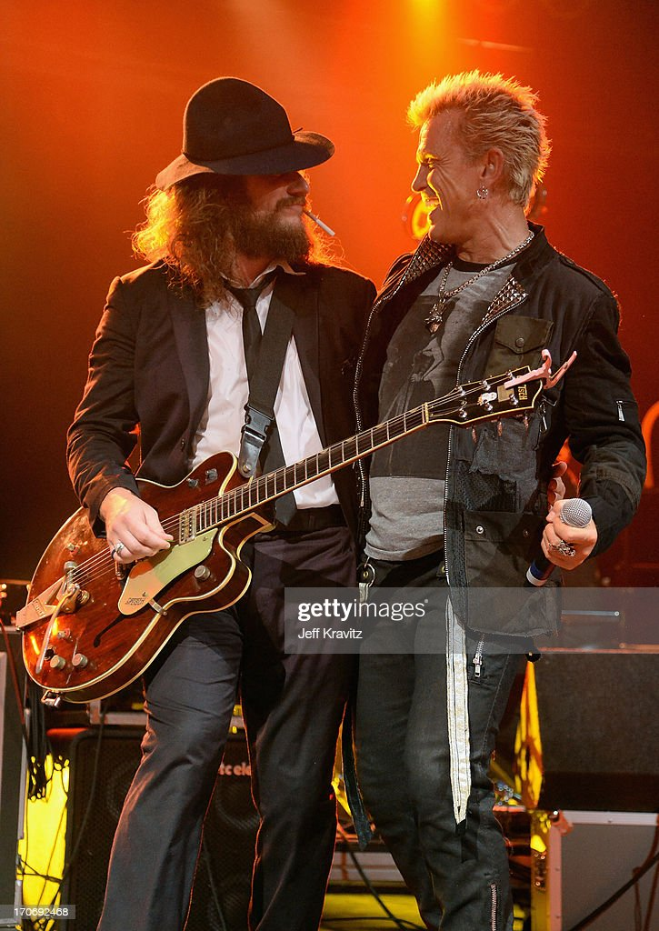Jim James and Billy Idol perform onstage at Rock n' Soul Dance Party Superjam at This Tent during day 3 of the 2013 Bonnaroo Music & Arts Festival on June 15, 2013 in Manchester, Tennessee.