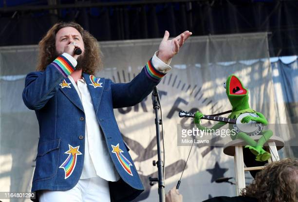 Jim James and Kermit the Frog perform during the If I Had A Song tribute set during day three of the 2019 Newport Folk Festival at Fort Adams State...