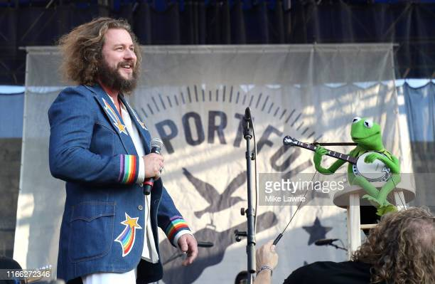 """Jim James and Kermit the Frog perform during the """"If I Had A Song"""" tribute set during day three of the 2019 Newport Folk Festival at Fort Adams State..."""
