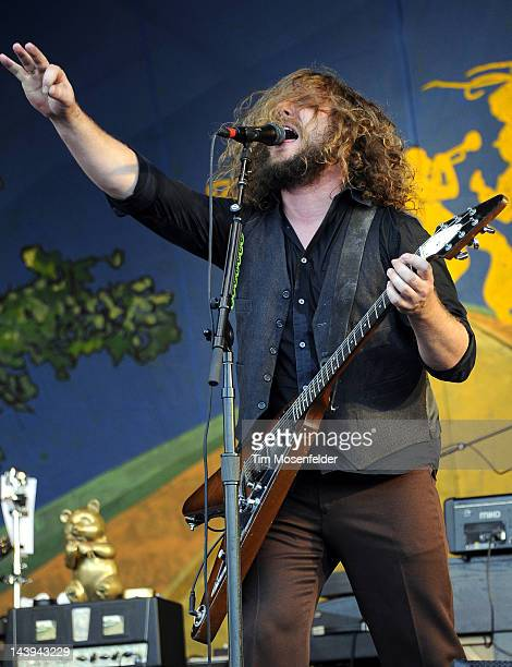 Jim James and My Morning Jacket perform with the Preservation Hall Jazz Band at the 2012 New Orleans Jazz Heritage Festival at Fair Grounds Race...