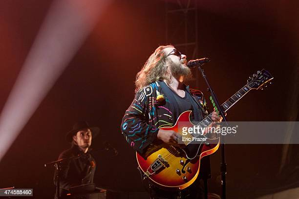 Jim James of My Morning Jacket performs during Day 2 of the Boston Calling Music Festival at Boston City Hall Plaza on May 23 2015 in Boston...