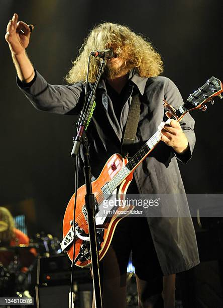 Jim James of My Morning Jacket performs in support of the bands' Circuital release at The Bill Graham Civic Auditorium on December 2 2011 in San...