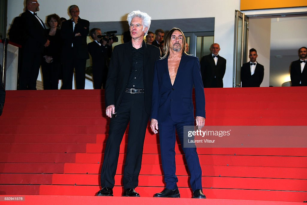 Jim Jarmusch and Iggy Pop attend the 'Gimme Danger' Premiere during the 69th annual Cannes Film Festival at the Palais des Festivals on May 19, 2016 in Cannes, .