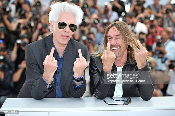 "Jim Jarmusch and Iggy Pop attends the ""Gimme Danger"" photocall during the 69th annual Cannes Film Festival at Palais des Festivals on May 19, 2016 in..."