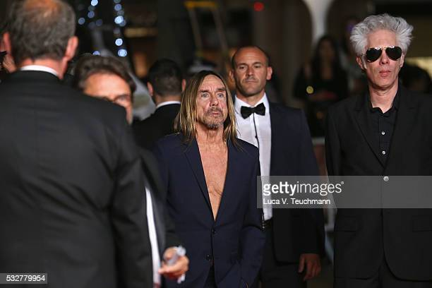"""Jim Jarmusch and Iggy Pop attends the """"Gimme Danger"""" Premiere during the 69th annual Cannes Film Festival at the Palais des Festivals on May 19, 2016..."""