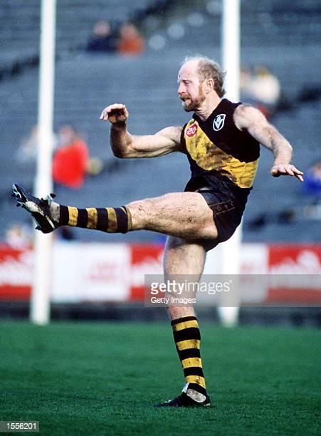 Jim Jess of Richmond kicks from the back line at Waverley Park Melbourne Australia Mandatory Credit Allsport Australia/ALLSPORT