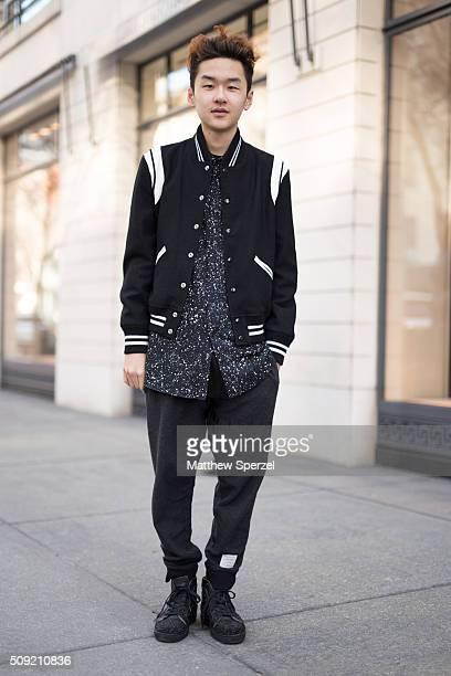 Jim Jian is seen on Oak Street wearing black/white Saint Laurent patterned shirt and jacket black Thom Browne pants and black Christian Louboutin...