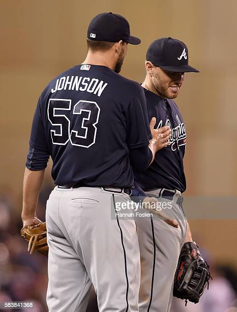 Jim Johnson and Freddie Freeman of the Atlanta Braves celebrate winning the game against the Minnesota Twins on July 27 2016 at Target Field in...